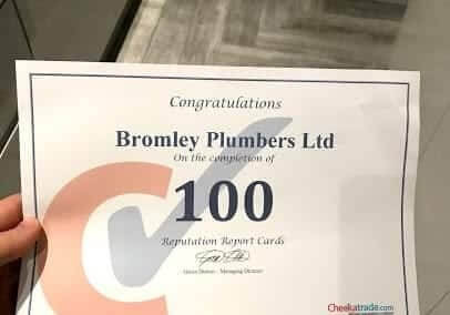 Bromley Plumbers Excellence Certificate for Constructions